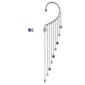 Серьги ассиметричные, кафф и пусет Дождик с голубыми и синими фианитами, серебро