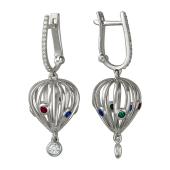 Серьги длинные Китай Фонарь с цветными фианитами, серебро