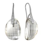 Серьги с хрусталем и фианитом из серебра 925 пробы
