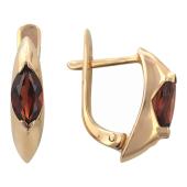 Серьги с полудрагоценным камнем Маркиз, красное золото