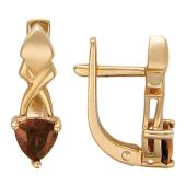 Серьги с полудрагоценным камнем треугольной формы, красное золото