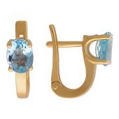 Золотые серьги с полудрагоценным камнем овальной формы
