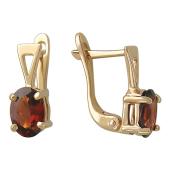 Серьги с гранатом (аметистом, топазом, хризолитом), красное золото