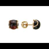 Серьги с круглыми камнями огранки кабошон в держателях, красное золото, 585 пробы