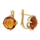 Серьги с камнями огранки бриолетт, красное золото, 585 пробы