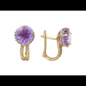 Серьги Цветок с веревкой (камень: топаз, аметист, празиолит), красное золото
