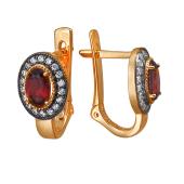 Серьги Принцесса с овальным гранатом и фианитами, красное золото 585 пробы