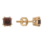 Серьги-пусеты с квадратным гранатом, красное золото