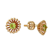 Серьги-пусеты Колибри с хризолитом (гранатом, топазом, аметистом), красное золото