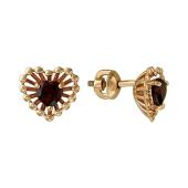 Серьги-пусеты Колибри сердце с гранатом (аметистом), красное золото