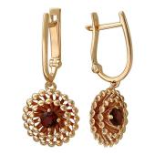 Серьги Колибри с гранатами (топазами), красное золото