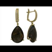 Серьги с крупным камнем Груша на подвесе, дорожка фианитов, желтое золото