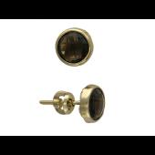 Серьги-пусеты с круглым камнем (топаз/гранат/празиолит), желтое золото