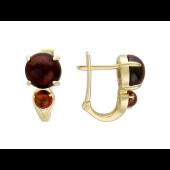 Серьги с двумя круглыми камнями Кабашон, желтое золото