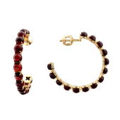 Серьги-кольца на гвоздиках с гранатом/топазом огранки Кабошон, желтое золото, 585 пробы