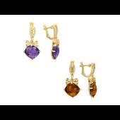 Серьги Бант с камнем (камень: топаз, кварц, аметист, празиолит), желтое золото
