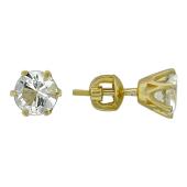 Серьги-пусеты с круглым топазом в шести держателях, желтое золото