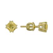 Пусеты с топазом кушен (гелиодором), желтое золото