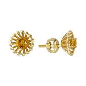 Серьги-пусеты Колибри с цитринами, желтое золото