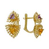 Серьги Колибри с цитринами и аметистами, желтое золото