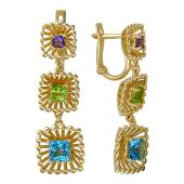 Серьги Колибри с топазами, хризолитами и аметистами, желтое золото