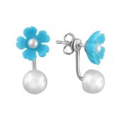 Серьги-джекеты Цветок с белым жемчугом и бирюзой из серебра 925 пробы