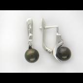 Серьги с черным жемчугом и фианитами, серебро