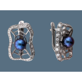 Серьги Паутинка с черным жемчугом и фианитами, серебро