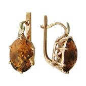 Серьги с большим цитрином (раухтопазом), красное и белое золото
