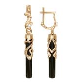Серьги с черным агатом в форме цилиндра, узорный держатель с фианитом, красное золото, 585 пробы