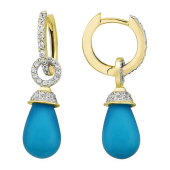 Серьги-кольца с бирюзой капля и кольцом с фианитами, желтое золото