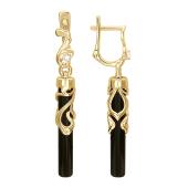 Серьги с черным агатом в форме цилиндра, узорный держатель с фианитом, желтое золото, 585 пробы