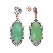 Серьги пусеты длинные Dream с зеленым агатом и фианитами, серебро с чернением и позолотой