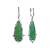 Серьги длинные Dream с зеленым агатом и фианитами, серебро
