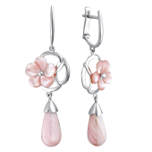 Серьги Цветок с розовым перламутром из серебра 925 пробы