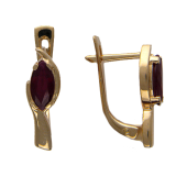 Серьги Тюльпан с изумрудами/рубинами формы маркиз, красное золото