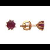 Серьги-пусеты с круглыми изумрудами/сапфирами, красное золото