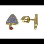 Пусеты Гриб, драгоценный камень, желтое золото 585 пробы