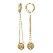 Серьги длинные на кольцах, подвеска с изумрудами в шаре на длинной цепи, желтое золото