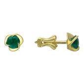 Золотые серьги-гвоздики Роза с драгоценным камнем, желтое золото 750 проба