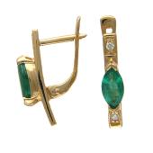 Серьги с бриллиантами и сапфиром/изумрудом Маркиз, красное золото