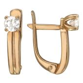 Серьги Классика с бриллиантом, красное золото