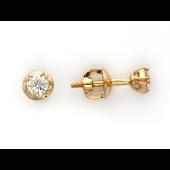 Пусеты круглые с бриллиантами, красное золото
