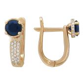 Серьги Дорожка с круглым сапфиром и бриллиантами, красное золото