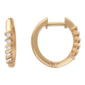 Серьги-кольца Дорожка с бриллиантами на сносках, красное золото