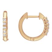 Серьги-кольца с бриллиантами, красное золото