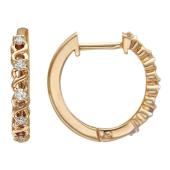 Серьги-кольца Дорожка с бриллиантами на спиралях, красное золото