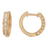 Серьги-кольца Дорожка с бриллиантами на петельках, красное золото