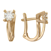 Серьги Малинка с бриллиантами, держатель-сердечко, красное золото