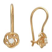 Серьги Роза с бриллиантами, красное золото